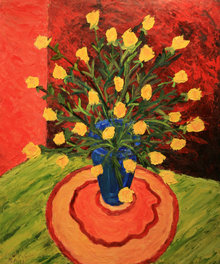 Yellow Roses in a Blue Vase 40x48 