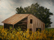 Yellow Barn Flowers - 48x72 Encaustic on Board